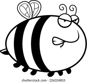 A cartoon illustration of a bee with an angry expression.