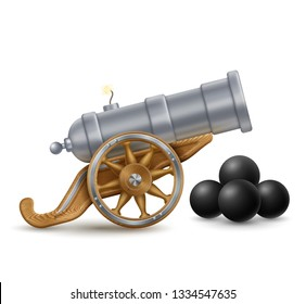 Cartoon illustration of big cannon with cannonballs, weapon icon, EPS 10 contains transparency.
