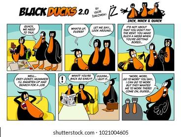 Cartoon Illustration of Black Ducks 2 Comic Story Episode 1