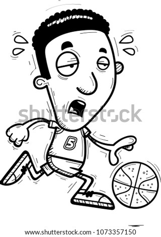 Cartoon Illustration Black Man Basketball Player Stock Vector