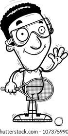 A cartoon illustration of a black man racquetball player waving.