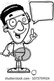 A cartoon illustration of a black man racquetball player talking.