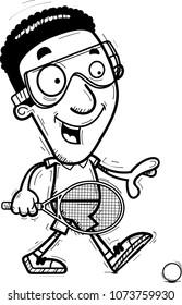 A cartoon illustration of a black man racquetball player walking.