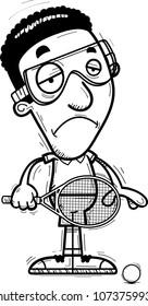 A cartoon illustration of a black man racquetball player looking sad.