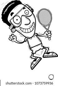 A cartoon illustration of a black man racquetball player jumping.