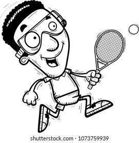 A cartoon illustration of a black man racquetball player running.