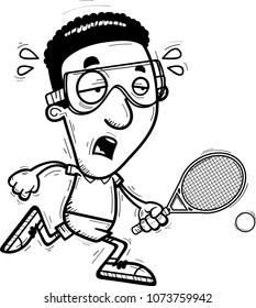 A cartoon illustration of a black man racquetball player running and looking exhausted.