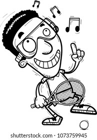 A cartoon illustration of a black man racquetball player dancing.