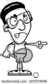 A cartoon illustration of a black man racquetball player looking angry and pointing.