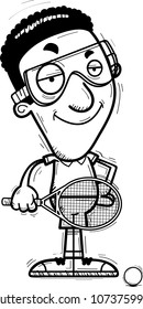A cartoon illustration of a black man racquetball player looking confident.