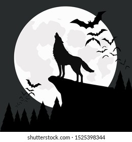 cartoon illustration Black and white, wolf howling on cliff, A group of bats flying the moon, halloween night  background,