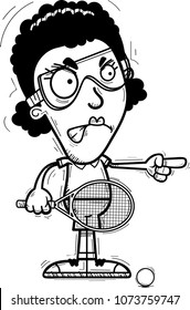 A cartoon illustration of a black woman racquetball player looking angry and pointing.