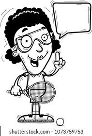 A cartoon illustration of a black woman racquetball player talking.
