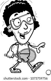 A cartoon illustration of a black woman racquetball player walking.