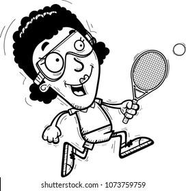 A cartoon illustration of a black woman racquetball player running.