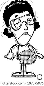 A cartoon illustration of a black woman racquetball player looking sad.