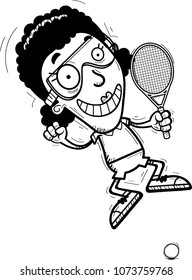 A cartoon illustration of a black woman racquetball player jumping.