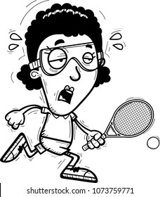 A cartoon illustration of a black woman racquetball player running and looking exhausted.