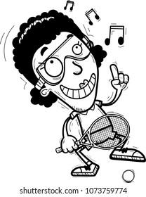 A cartoon illustration of a black woman racquetball player dancing.