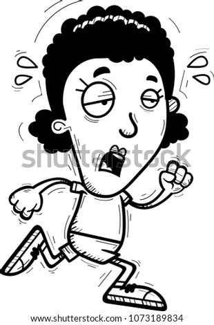 Cartoon Illustration Black Woman Running Looking Stock Vector