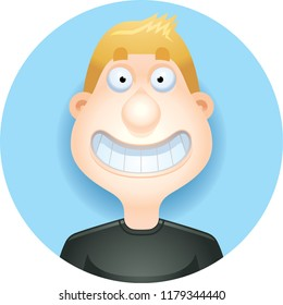 A cartoon illustration of a blond man smiling  looking happy.