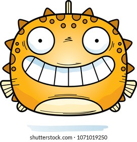 A cartoon illustration of a blowfish looking happy.