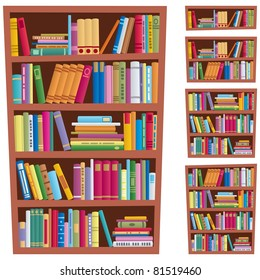 Cartoon illustration of bookshelf in 5 different versions.