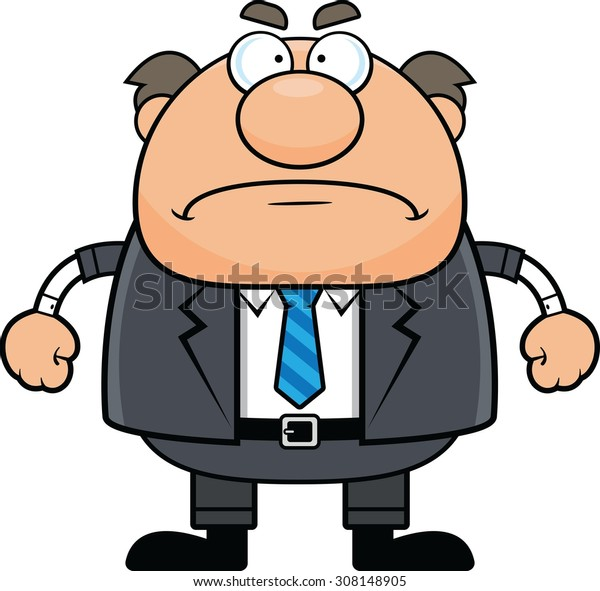Cartoon illustration of a boss man with a grumpy expression.