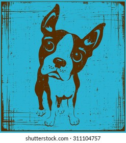 cartoon illustration of a boston terrier dog with grunge texture