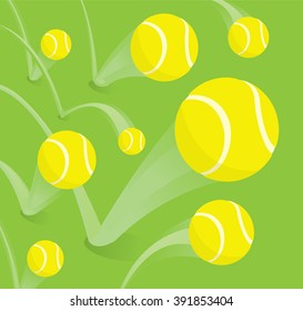 Cartoon illustration of bouncing tennis balls