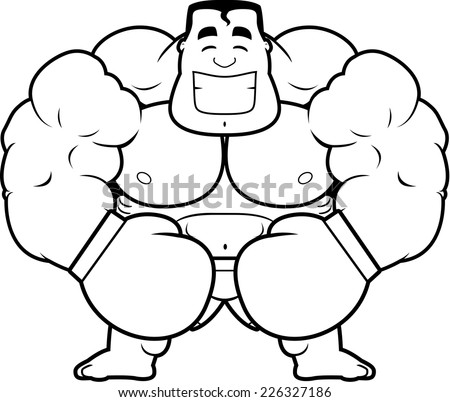 Cartoon Illustration Boxer Flexing Stock Vector Royalty Free