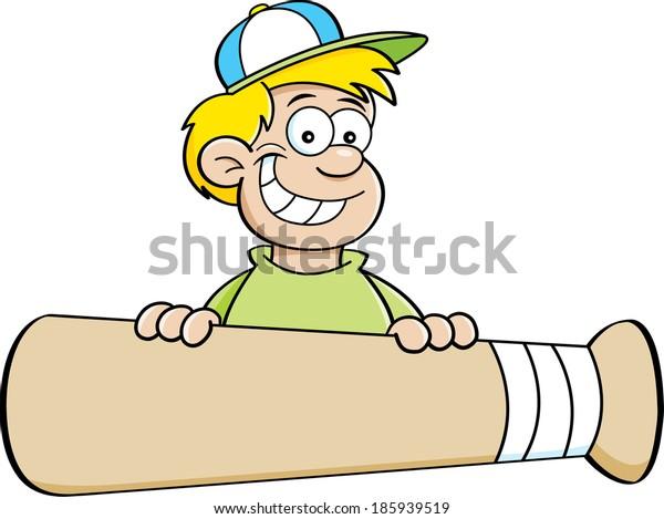 Cartoon illustration of a boy with a baseball bat banner.