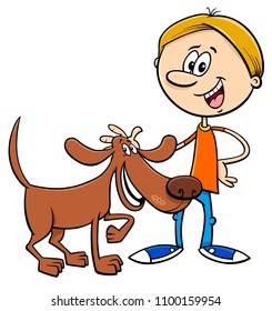 Cartoon Illustration of Boy with Funny Dog or Puppy