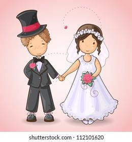 Cartoon illustration of  a boy and a girl in wedding dress