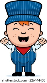 A cartoon illustration of a boy train conductor looking excited.