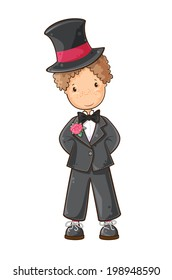Cartoon illustration of  boy  in wedding suit