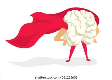 Cartoon illustration of brain super hero with cape