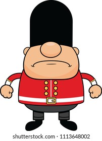 Cartoon illustration of a British guard with a grumpy expression.