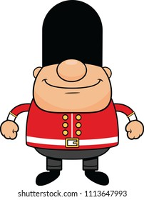 Cartoon illustration of a British guard with a happy expression.
