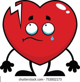 Cartoon illustration of a broken heart with a single tear.