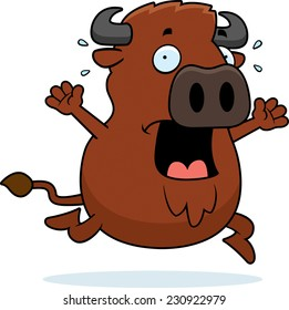 A cartoon illustration of a buffalo running in a panic.