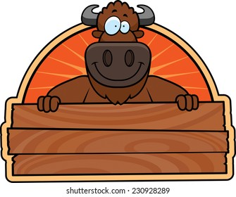 A cartoon illustration of a buffalo with a wooden a sign.