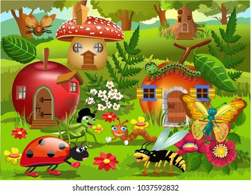 cartoon illustration of bug world with insects houses