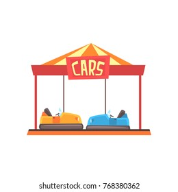 Cartoon illustration of bumper cars attraction under bright marquee. Amusement park or carnival. Colorful flat vector design for banner, poster or flyer