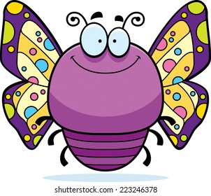 A cartoon illustration of a butterfly smiling.