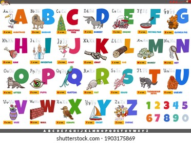 Cartoon illustration of capital letters alphabet set with funny characters and objects for reading and writing education for kids