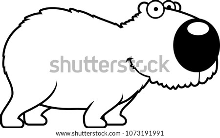 Cartoon Illustration Capybara Smiling Standing Stock Vector Royalty