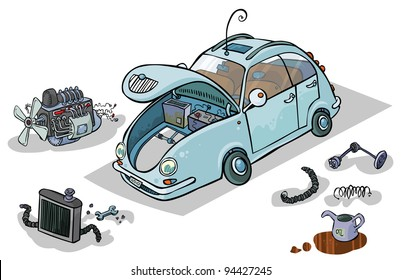 Cartoon Illustration of a Car with his Parts.