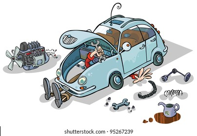 Cartoon Illustration of a Car Repairs.
