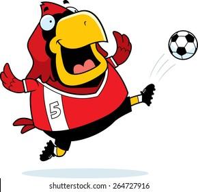 A cartoon illustration of a cardinal kicking a soccer ball.